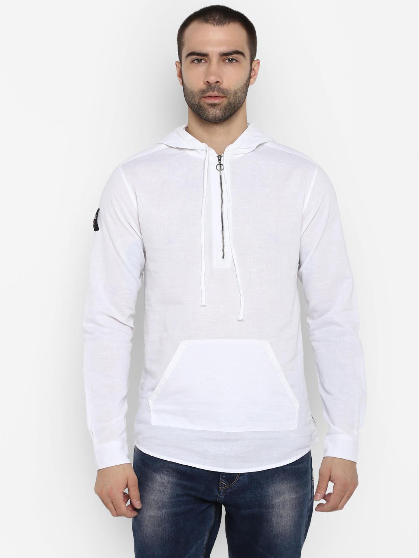 White Solid Slim Fit Hoodies
