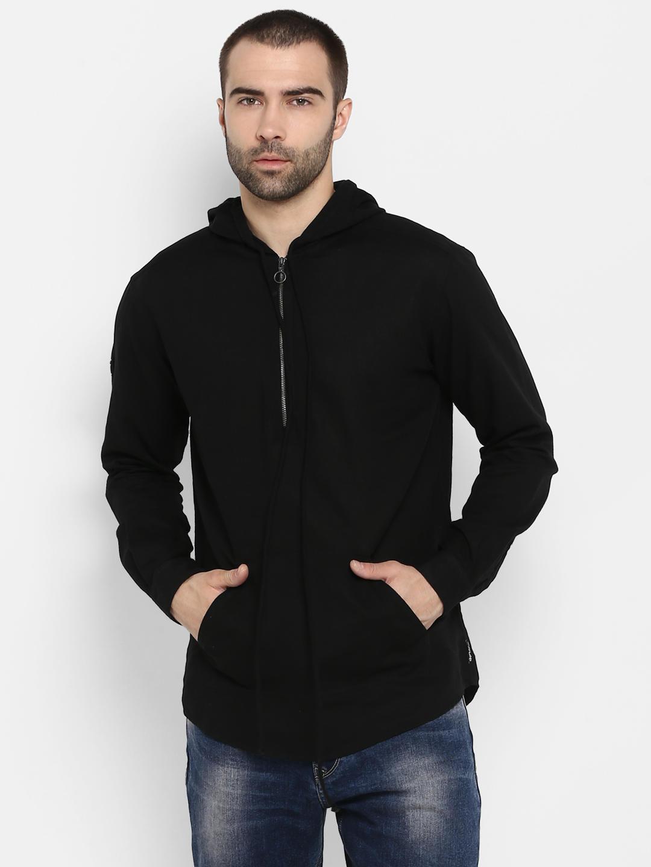 Black Solid Slim Fit Hoodies