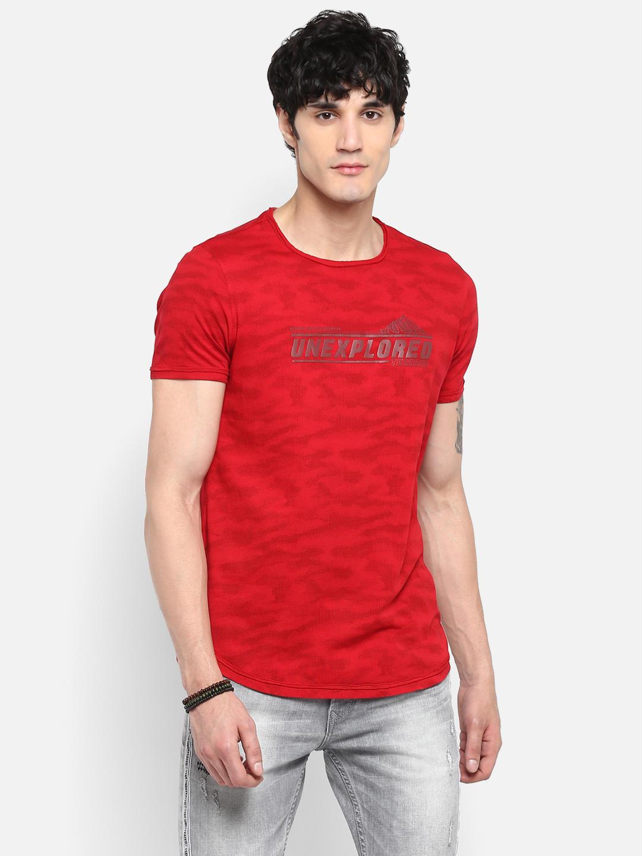 Deep Red Printed Slim Fit T-Shirts