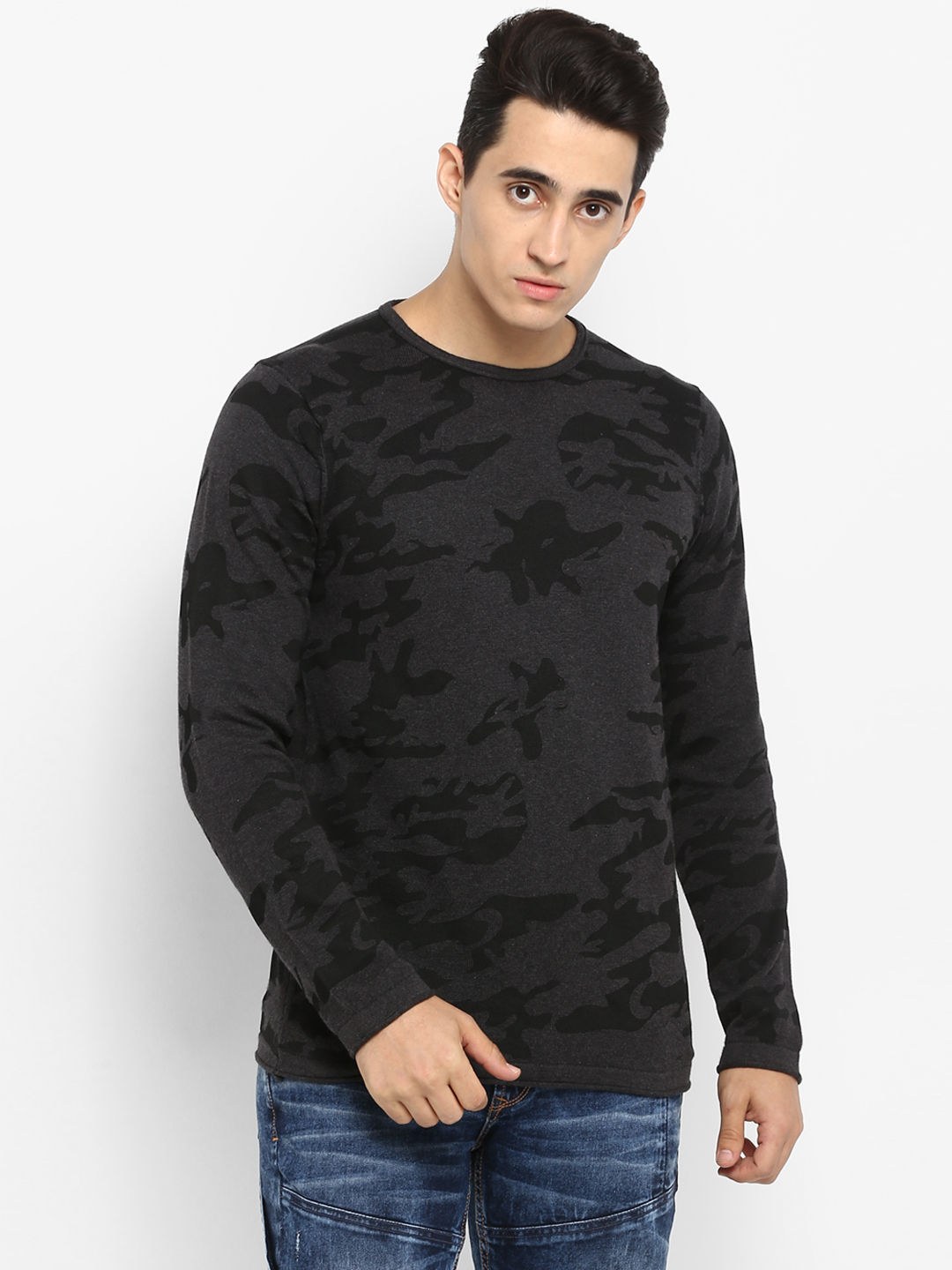 Grey Camouflage Slim Fit T-Shirts