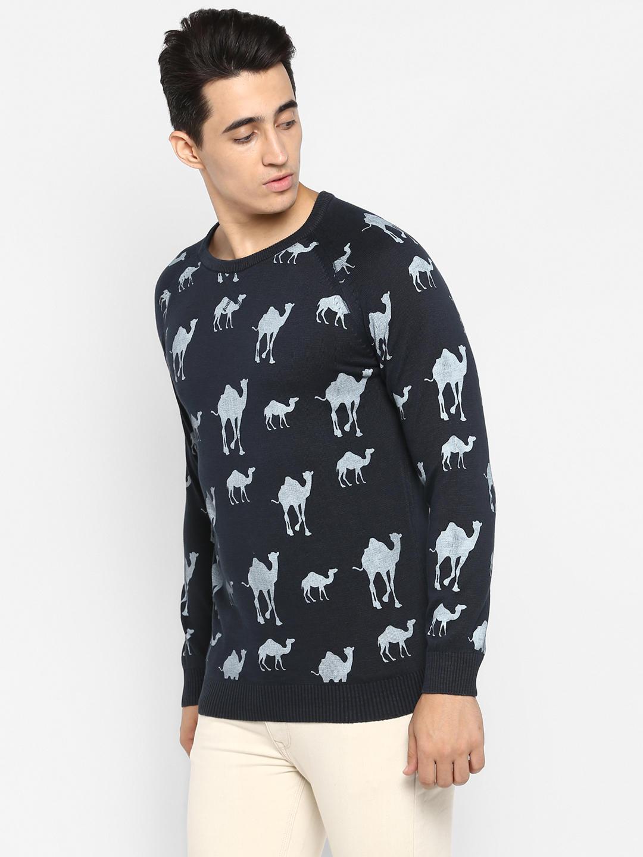 Navy Printed Slim Fit Sweatshirts