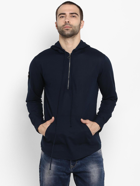 Navy Solid Slim Fit Hoodies