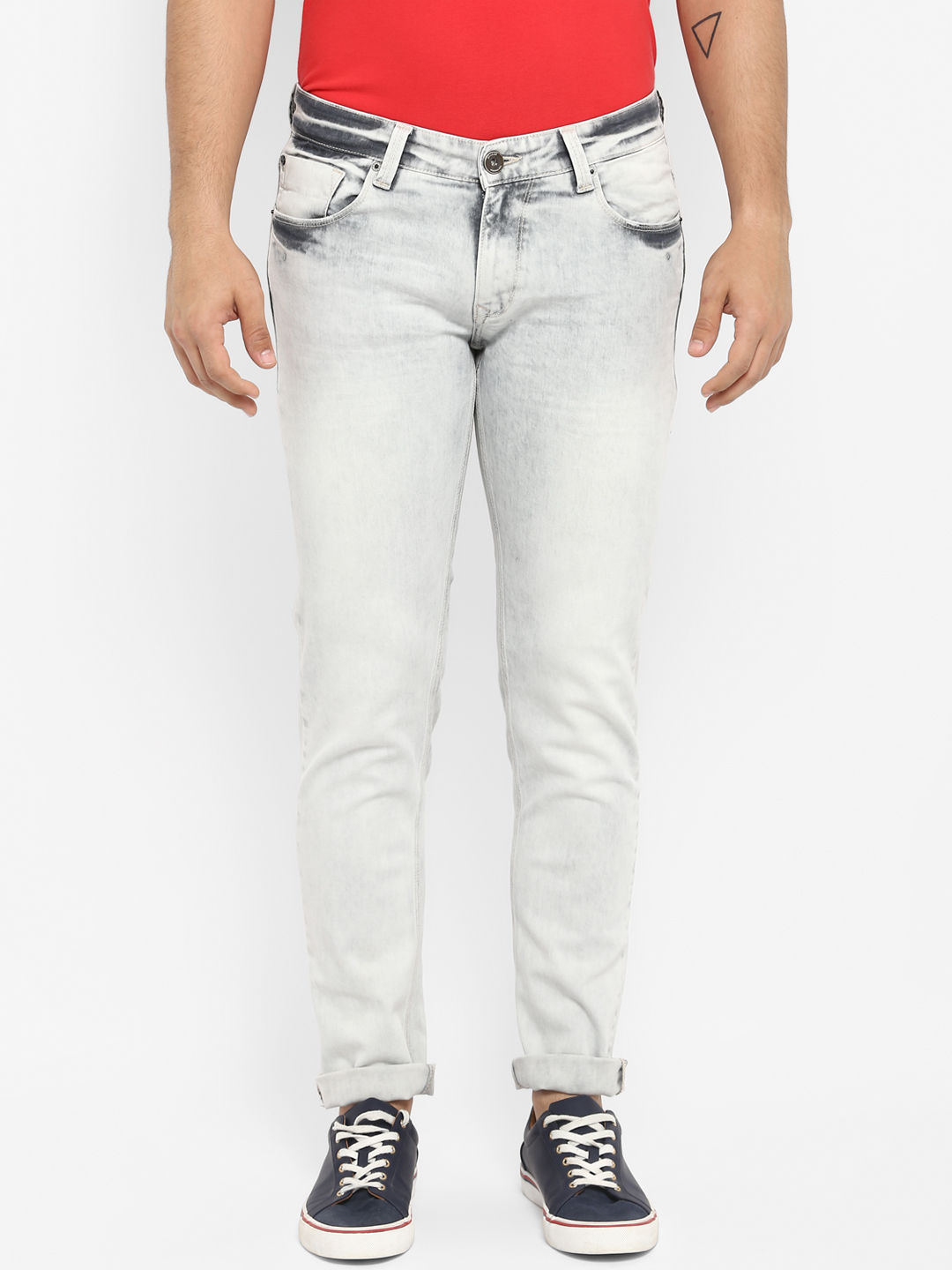 Light Grey Solid Skinny Fit Jeans