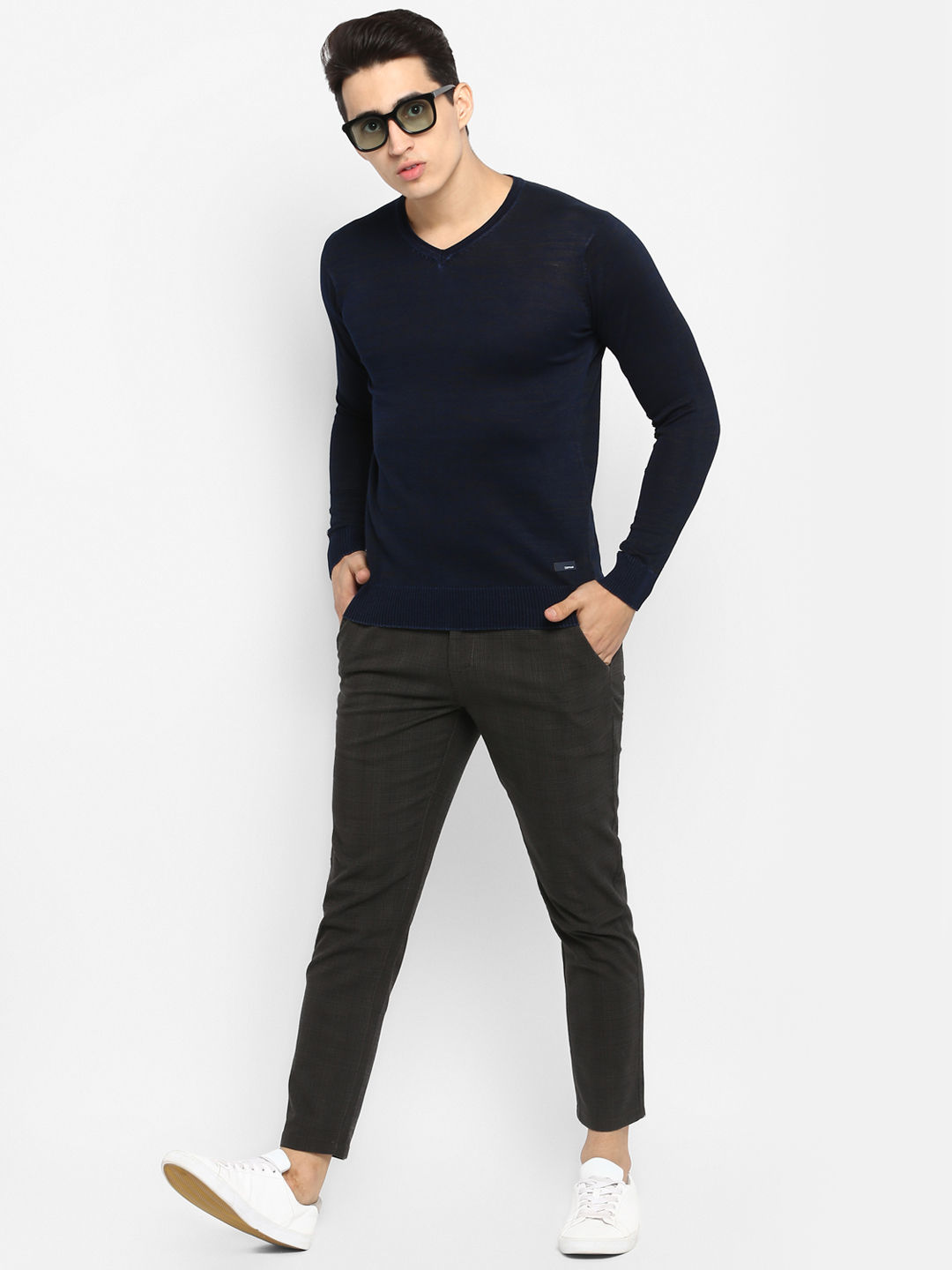 Olive Checked Slim Fit Chinos