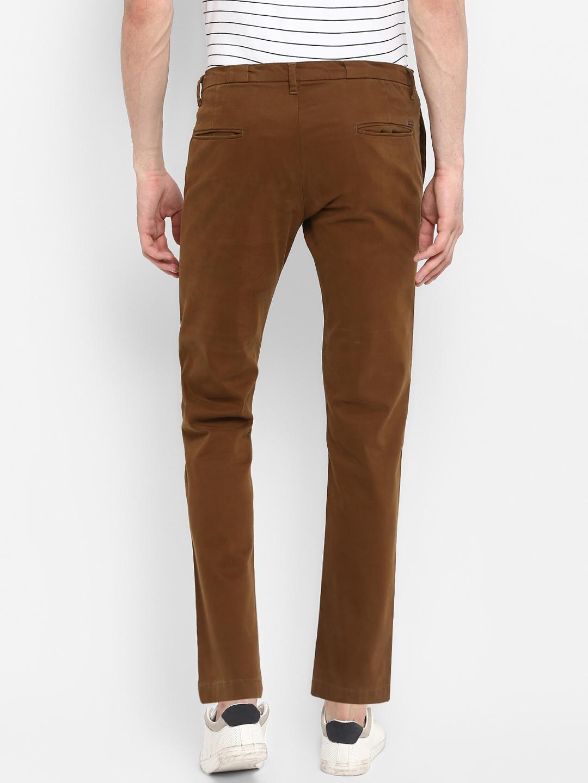 Brown Solid Slim Fit Chinos