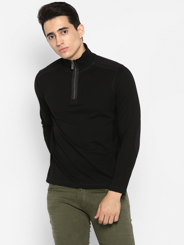 Jet Black Solid Slim Fit Sweatshirts