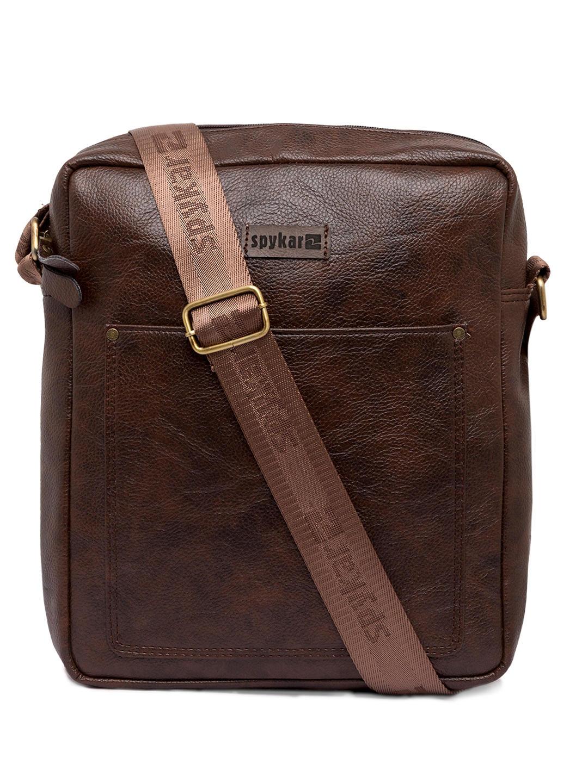 Spykar Brown Genuine Leather Messenger Bag