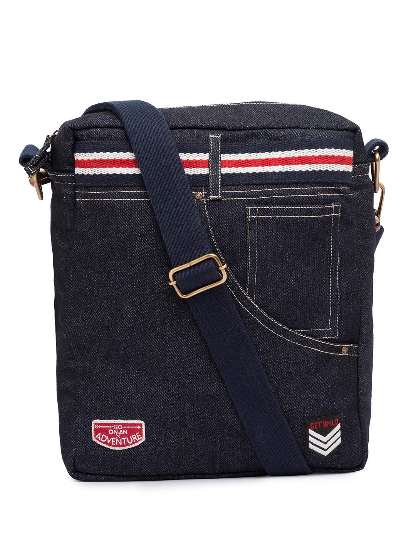 Spykar Blue Canvas Messenger Bag
