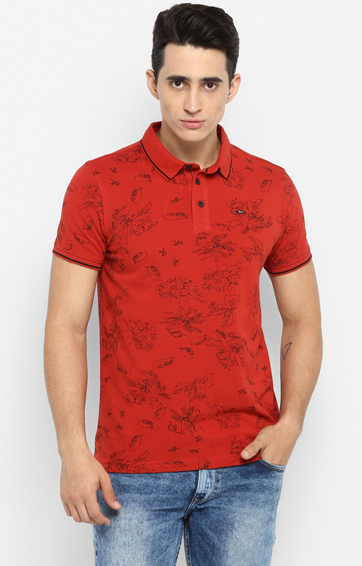 Rust Printed Slim Fit T-Shirts