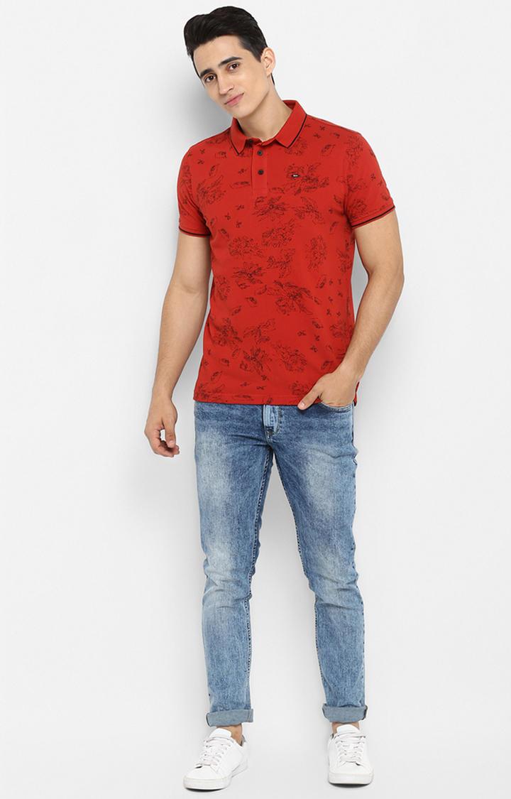 Rust Printed Slim Fit T-Shirts