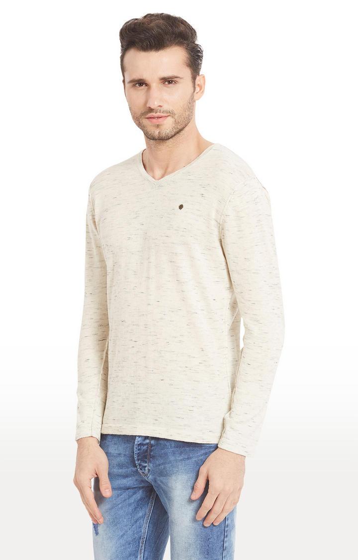 Ecru Melange Slim Fit T-Shirts