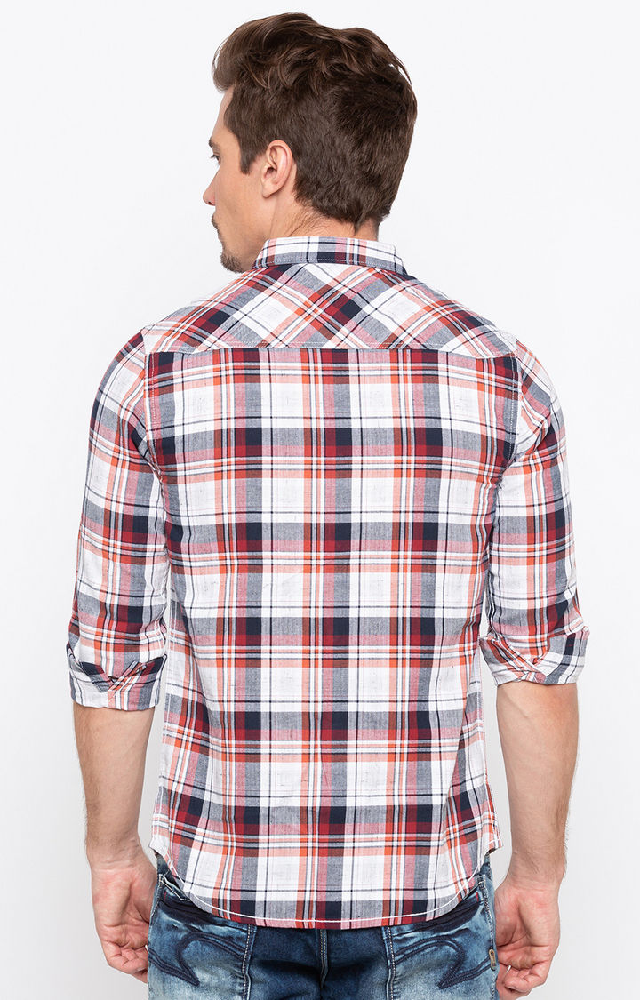 White and Red Checked Casual Shirt