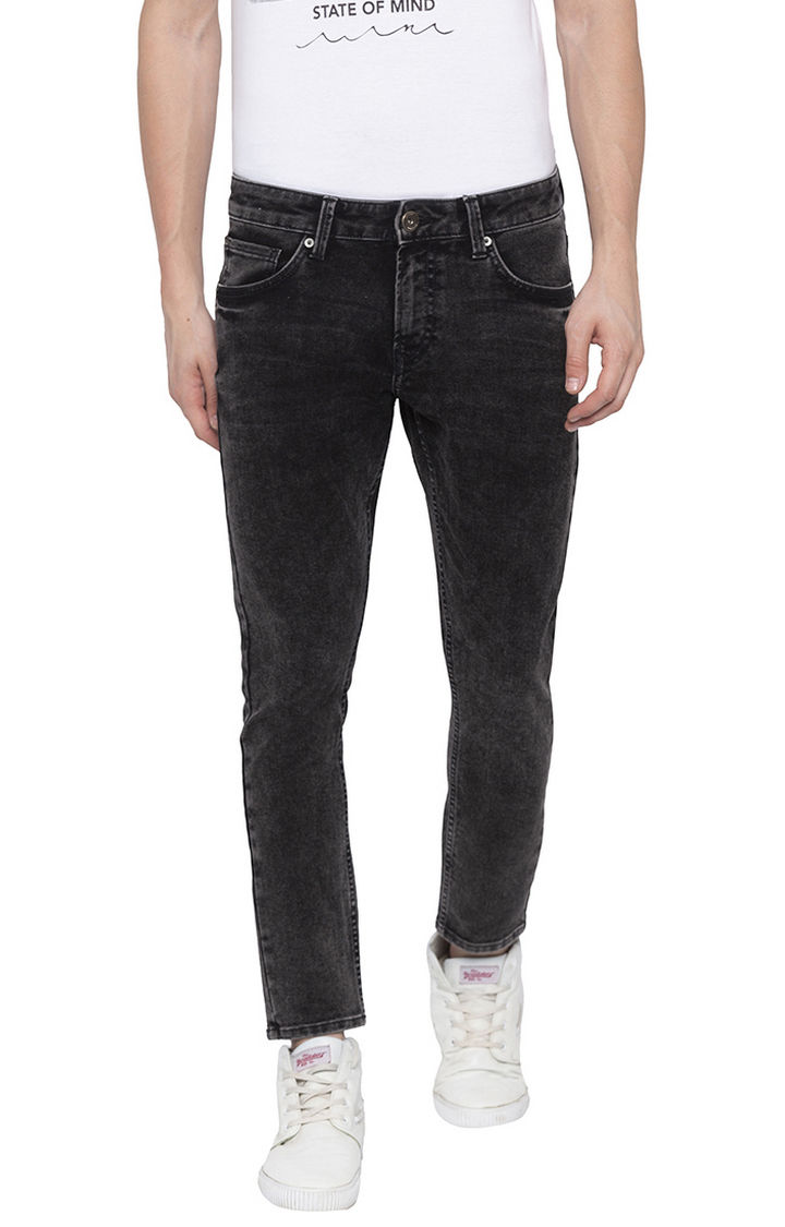Charcoal Solid Tapered Jeans