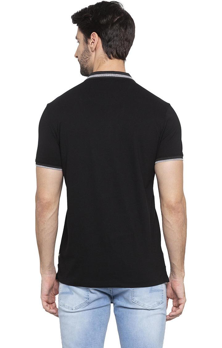 Black Solid Polo T-Shirt