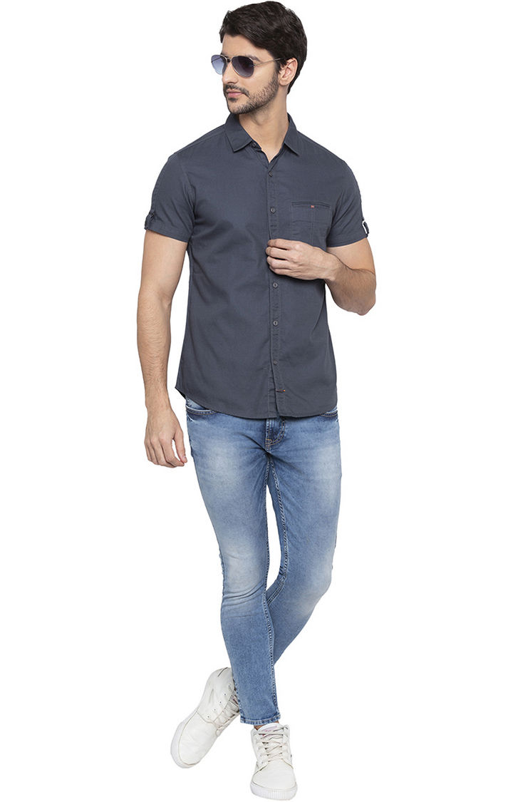 Charcoal Solid Casual Shirt