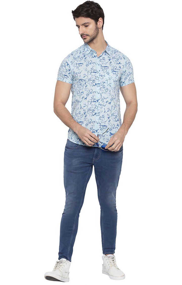 Aqua Printed Slim Fit Casual Shirt