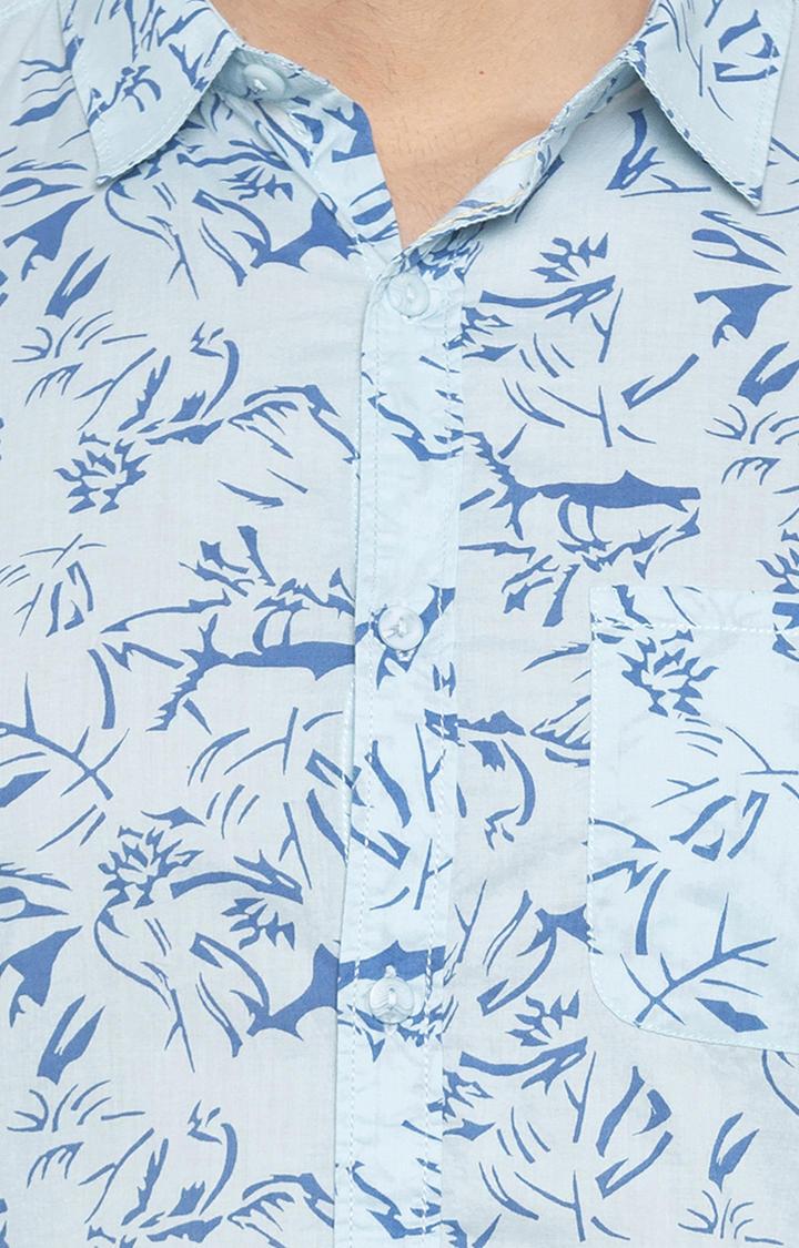 Aqua Printed Slim Fit Casual Shirt
