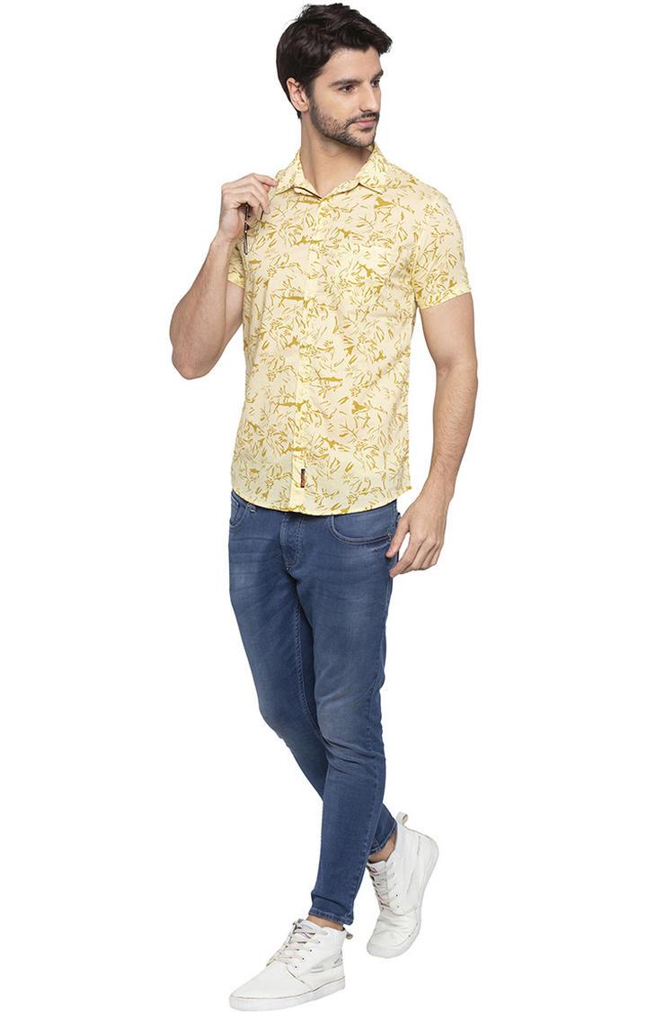 Pale Yellow Printed Slim Fit Casual Shirt