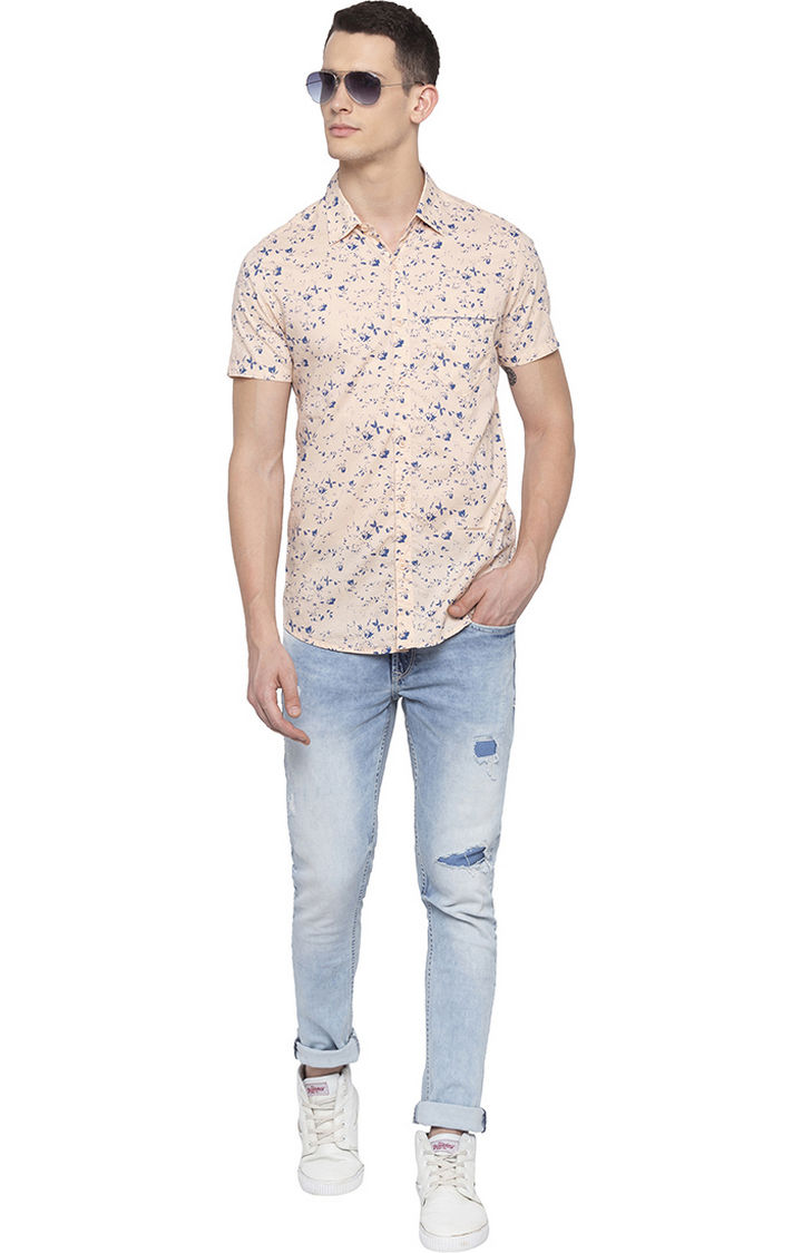 Peach Printed Slim Fit Casual Shirt