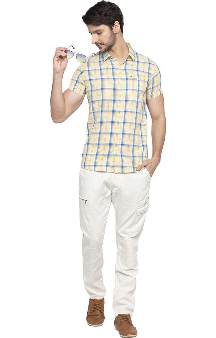 Lemon Yellow Checked Slim Fit Casual Shirt