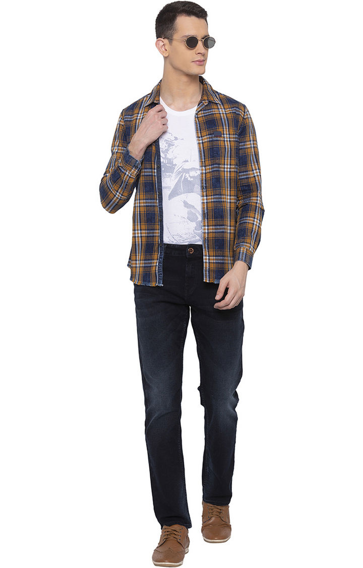 Mustard Checked Slim Fit Casual Shirt