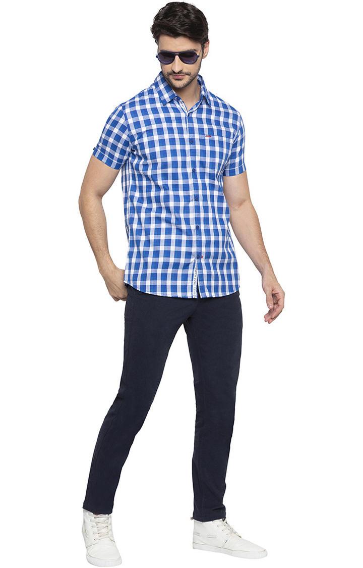 Cobalt Blue Checked Slim Fit Casual Shirt
