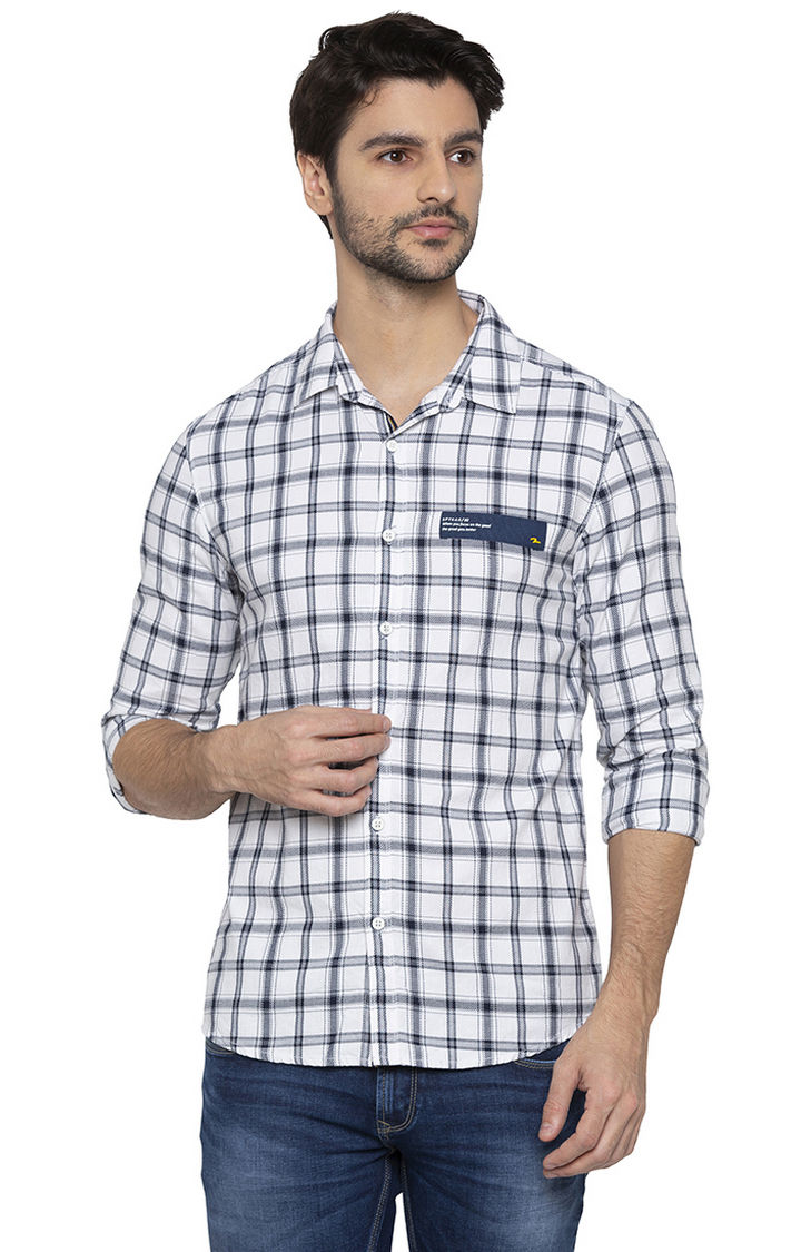 White Checked Slim Fit Casual Shirt