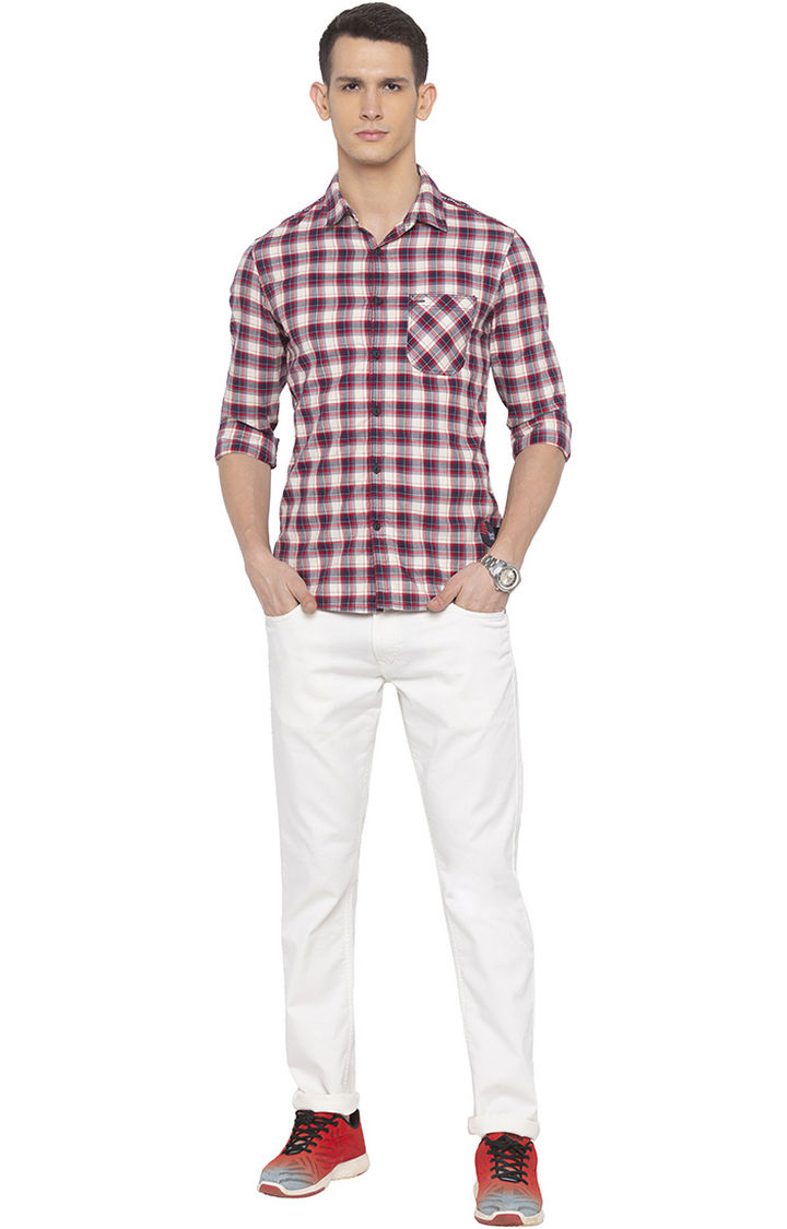 Beige Checked Slim Fit Casual Shirt