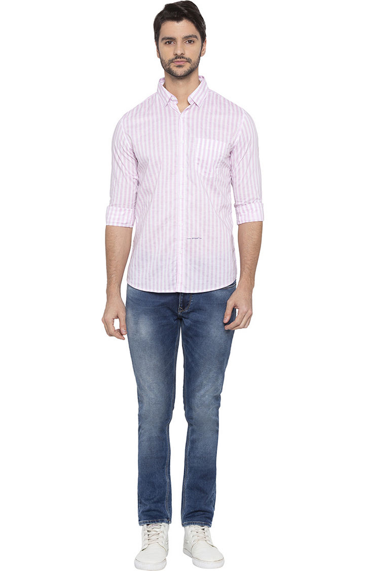Pink and White Striped Slim Fit Casual Shirt