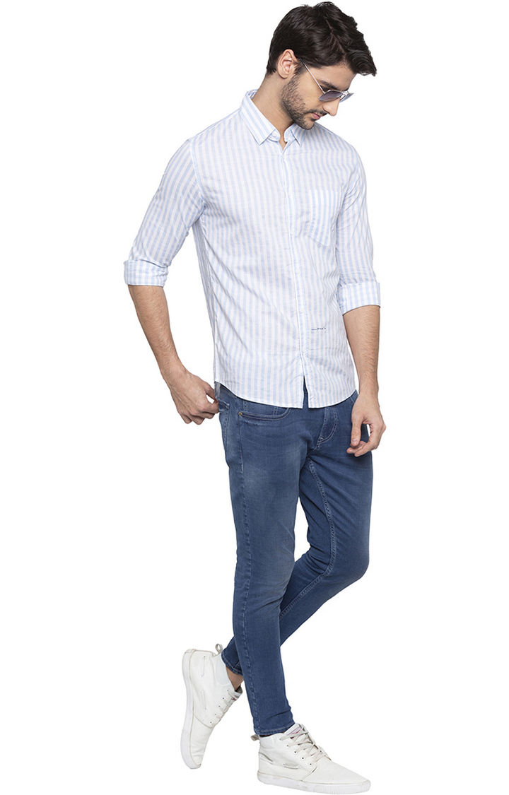 Sky Blue Striped Slim Fit Casual Shirt