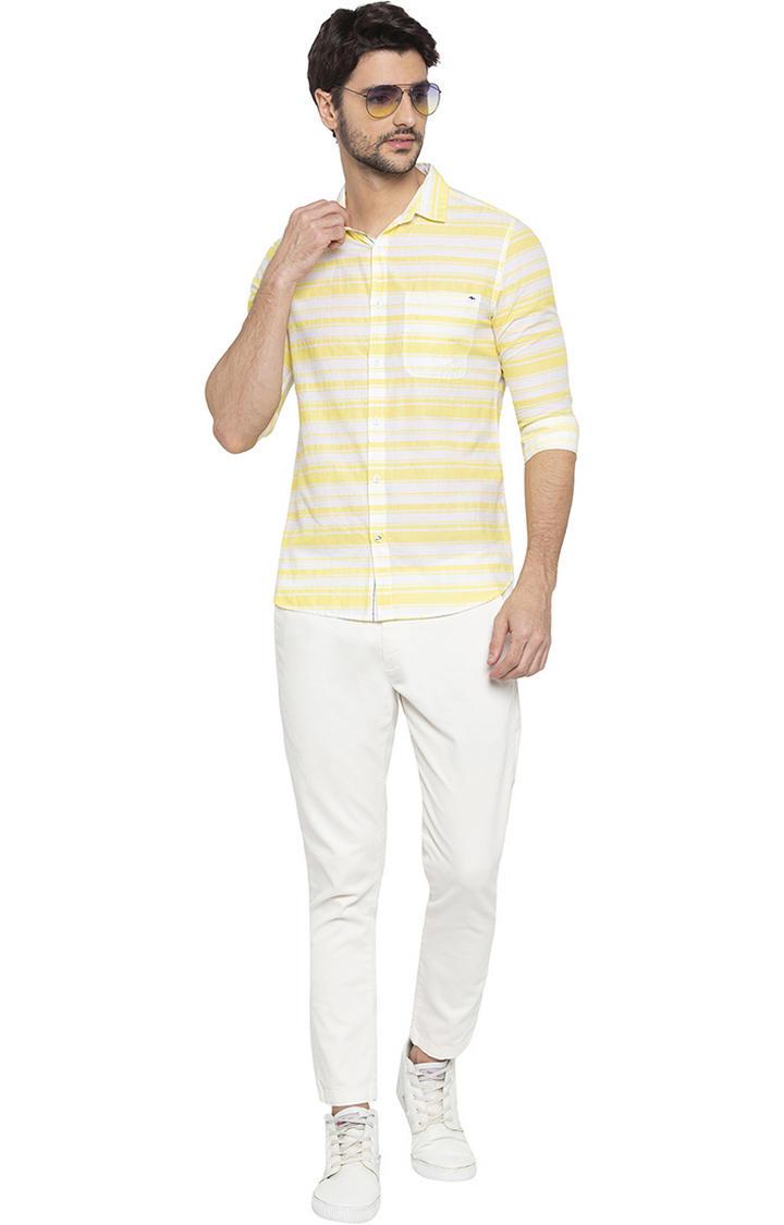 Lemon Yellow Striped Slim Fit Casual Shirt