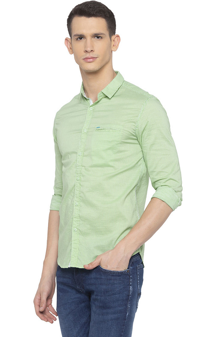 Lime Green Striped Slim Fit Casual Shirt