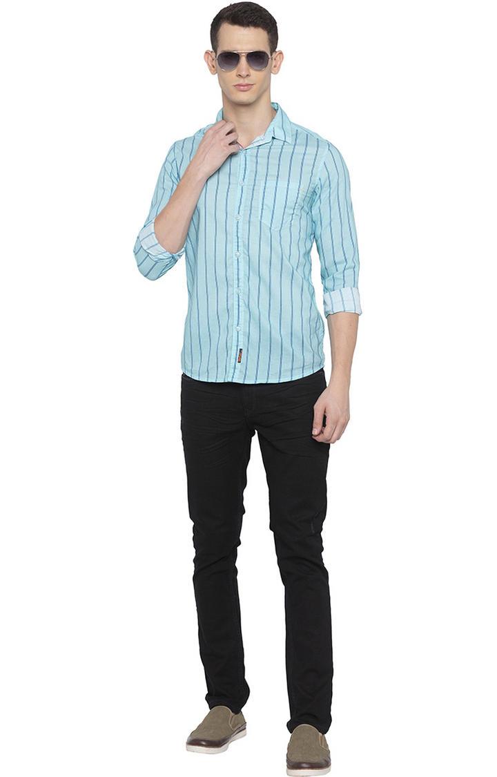 Mint Blue Striped Slim Fit Casual Shirt