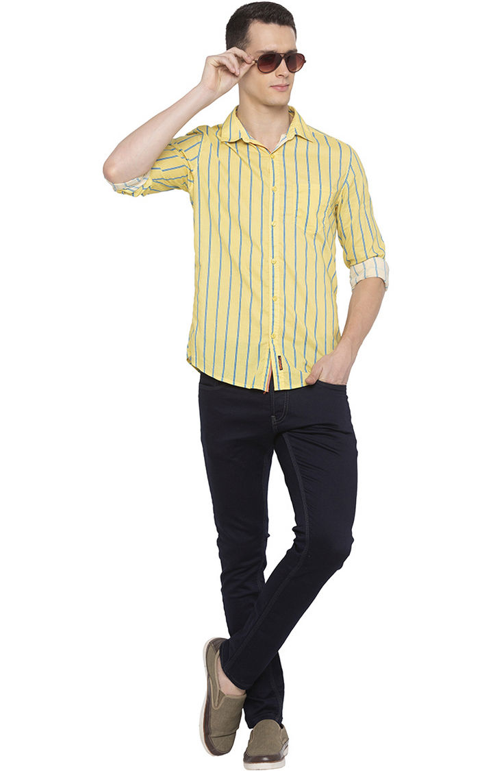 Yellow Striped Slim Fit Casual Shirt