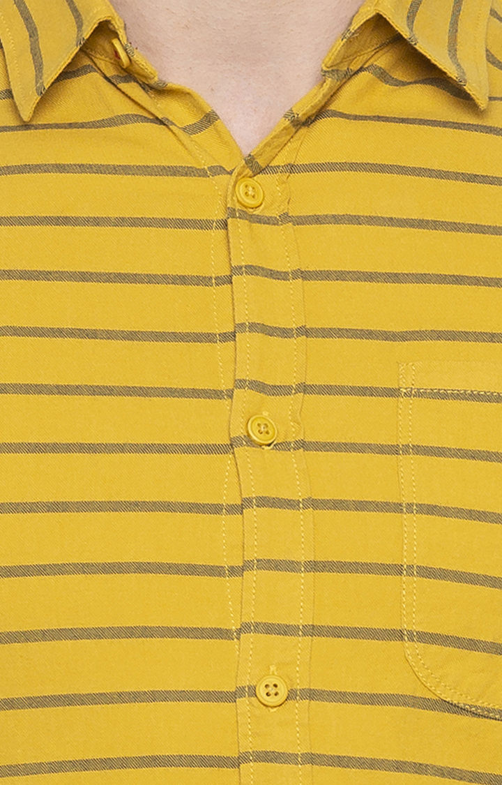 Mustard Striped Slim Fit Casual Shirt
