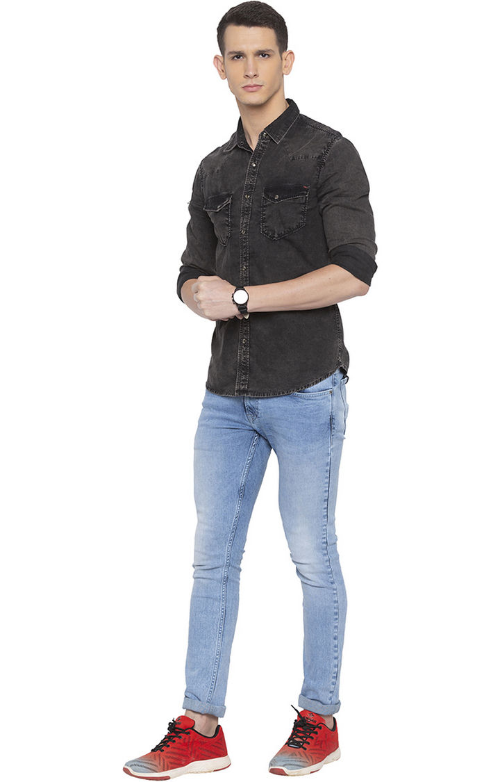 Grey Solid Slim Fit Casual Shirt