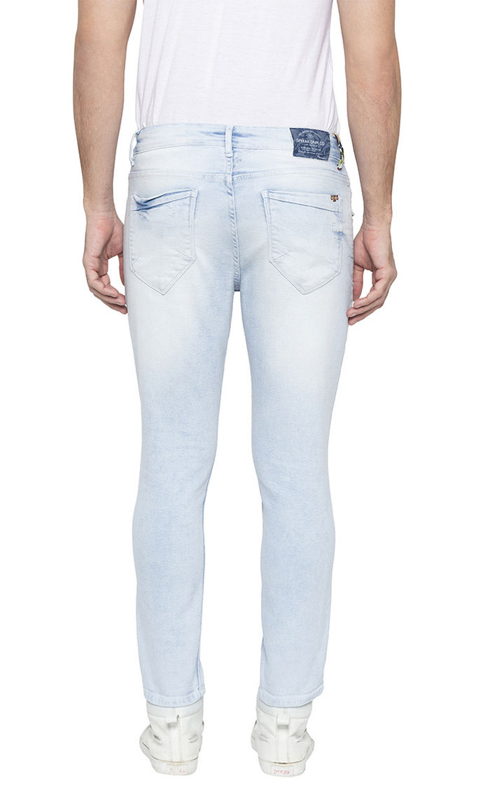 Ice Blue Ripped Tapered Fit Jeans