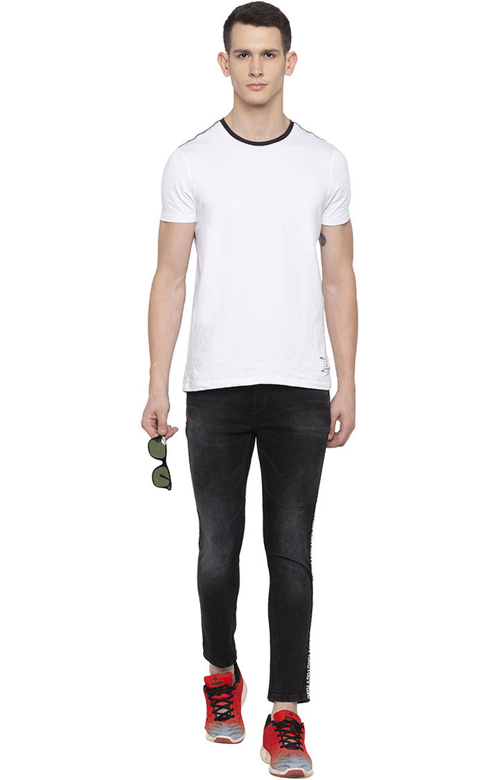 Carbon Black Solid Tapered Fit Jeans