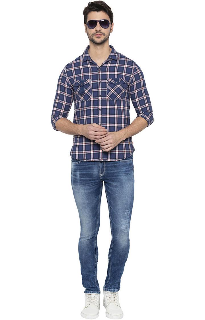 Mid Blue Printed Skinny Fit Jeans