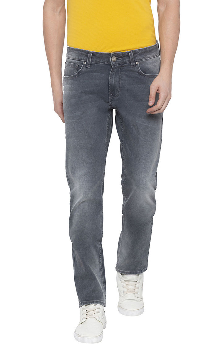 Ash Smoke Solid Tapered Jeans