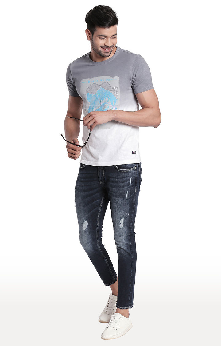 Dark Blue Ripped Tapered Fit Jeans