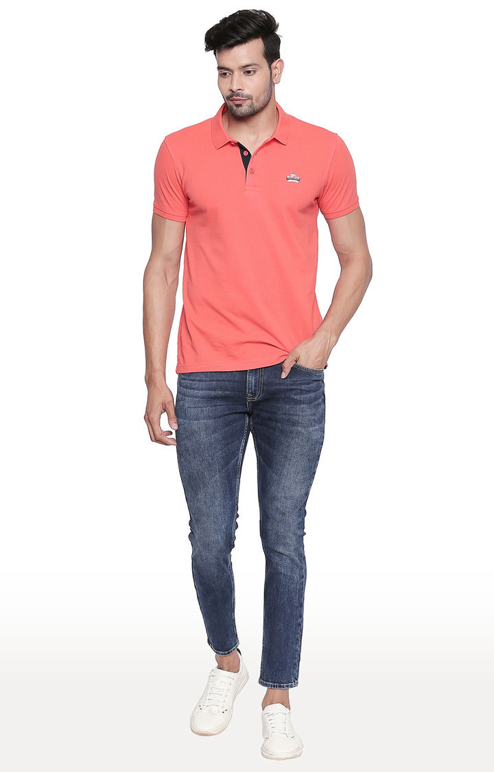 Mid Blue Solid Tapered Fit Jeans