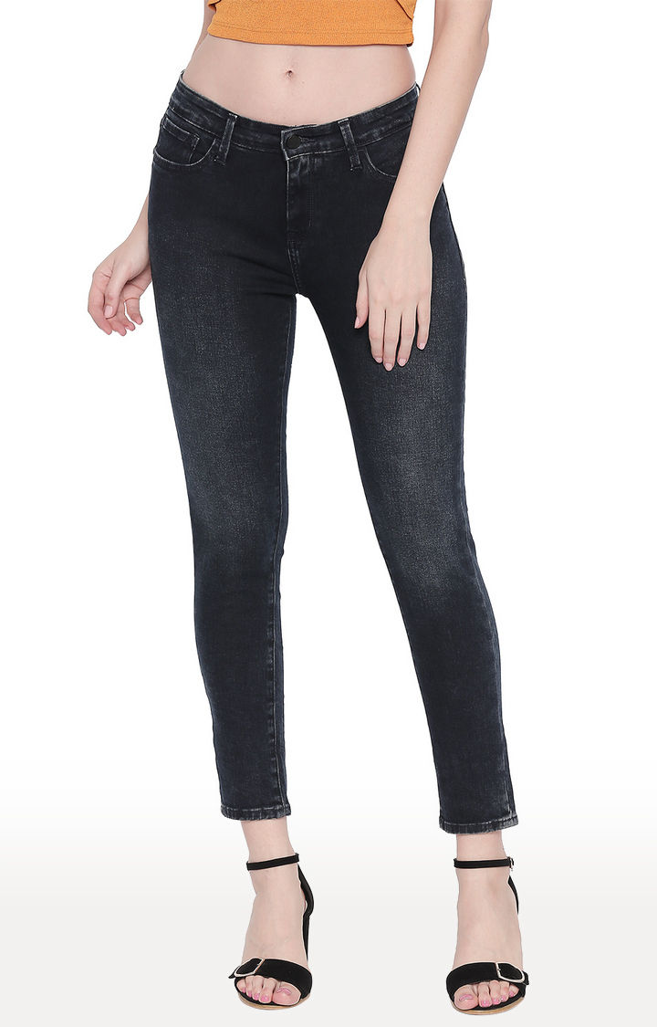 Dark Blue Solid Skinny Ankle Length Fit Jeans