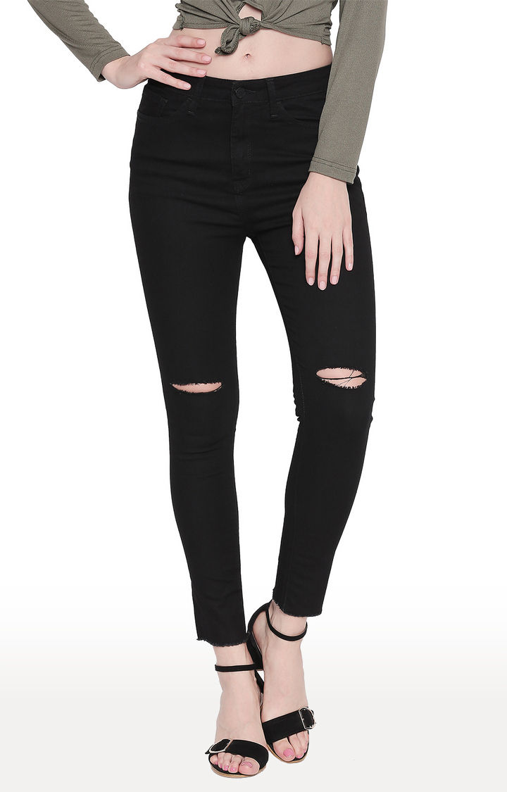 Black Ripped Super Skinny Ankle Length Jeans