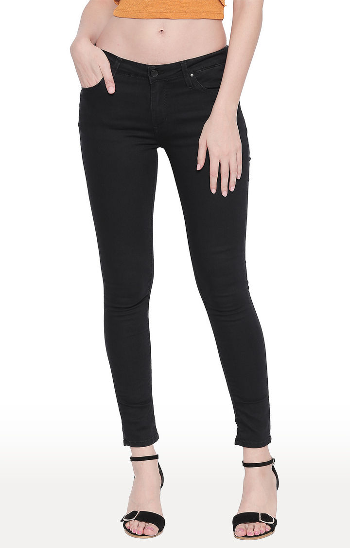 Black Solid Super Skinny Ankle Length Fit Jeans