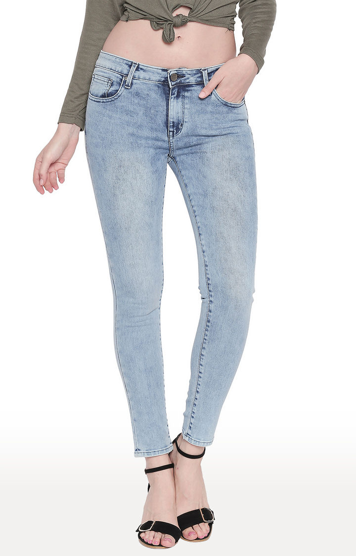 Light Blue Solid Super Skinny Fit Jeans