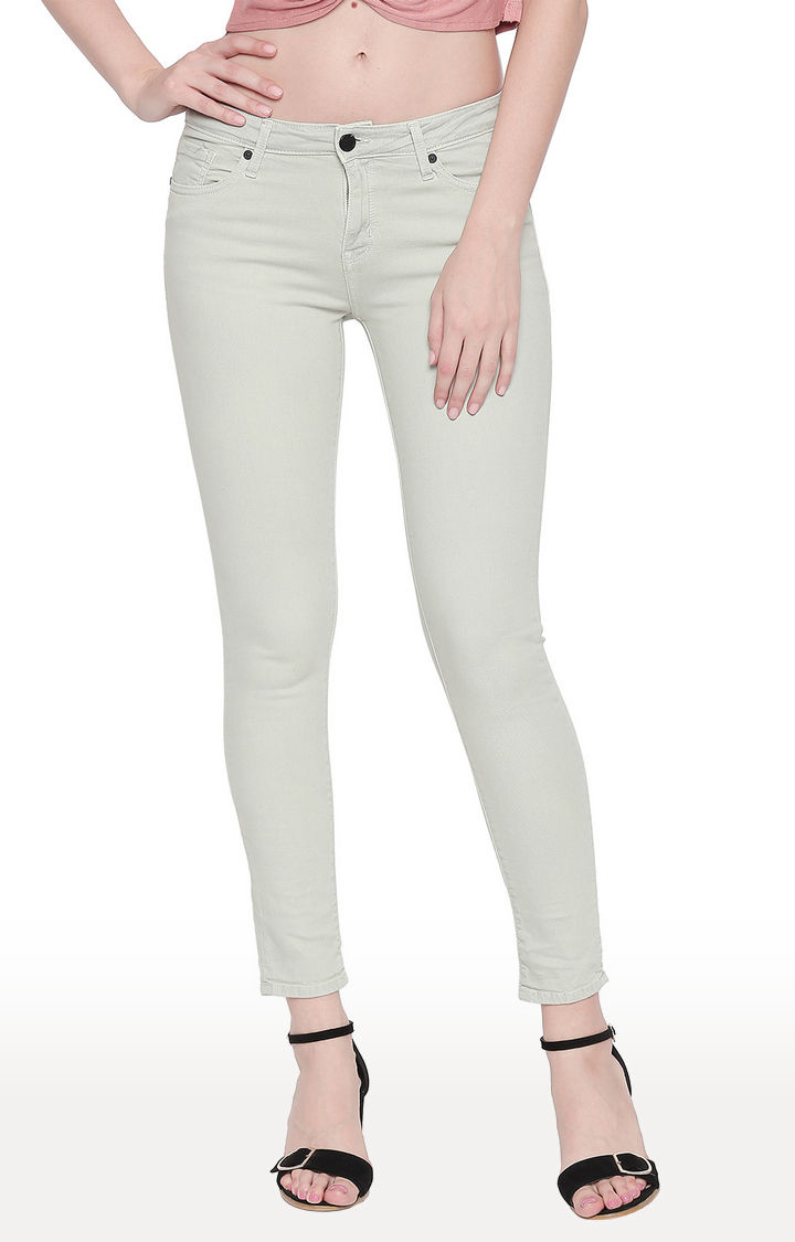 Mint Solid Super Skinny Ankle Length Fit Jeans