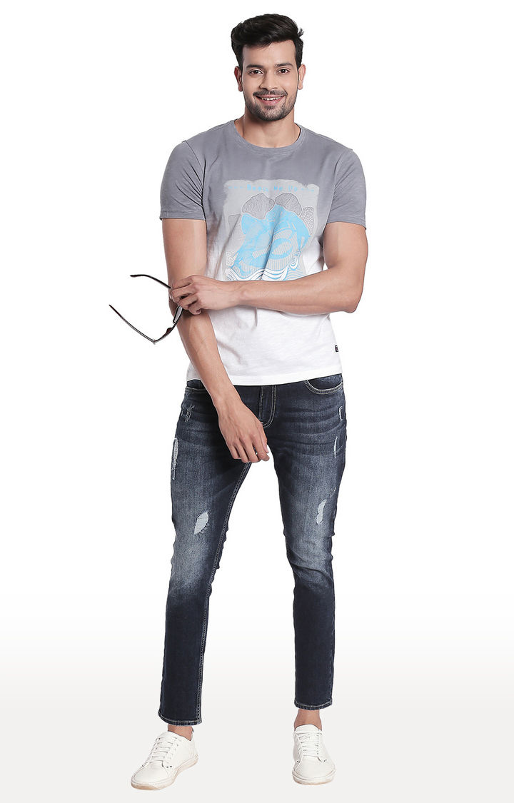 Grey Printed Slim Fit T-Shirt