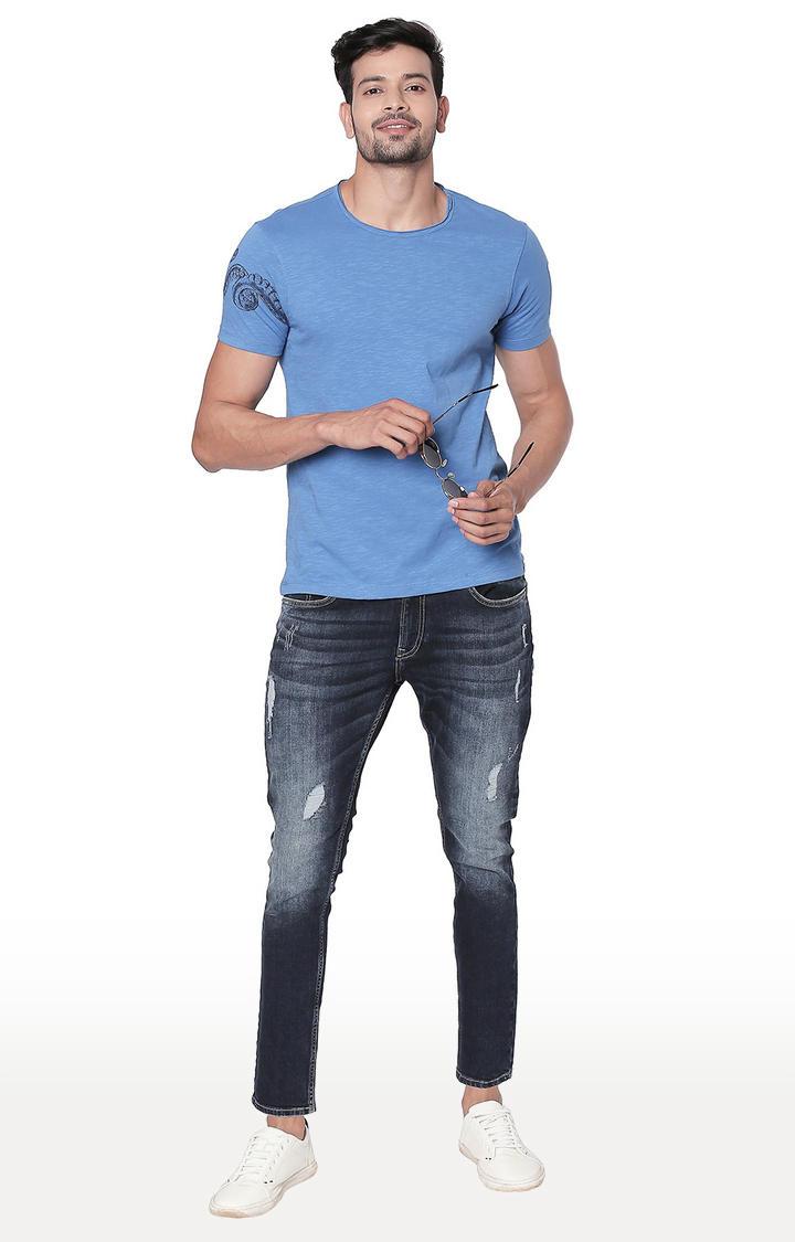Blue Melange Slim Fit T-Shirt