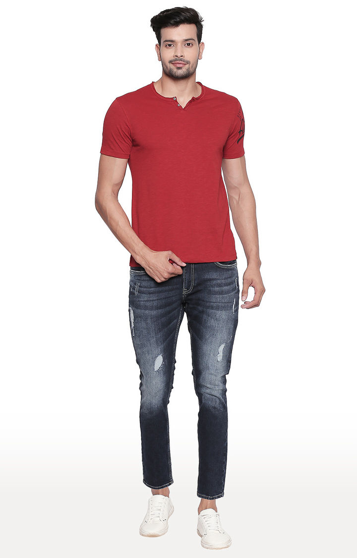 Brick Red Melange Slim Fit T-Shirt